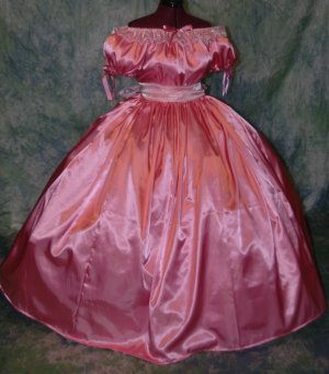 Civil War Ball Gown Reenacting Dickens Victorian Dress Organza Ruffle, Other Colors Available