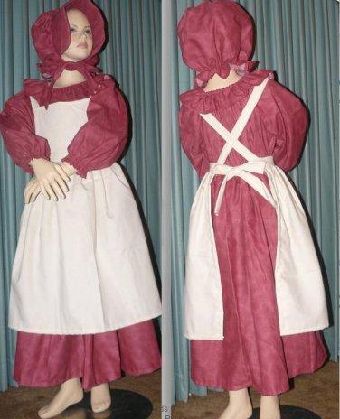 Civil War Reenactment Little Girls Prairie Dress Sizes and Colors Available