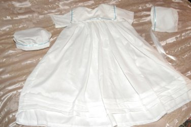 Custom Christening Baby Infant Baptism Gown Bonnet Hat Cotton Satin Style 2