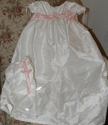 Custom Christening Baby Infant Baptism Gown Bonnet Hat Cotton Satin Style 3