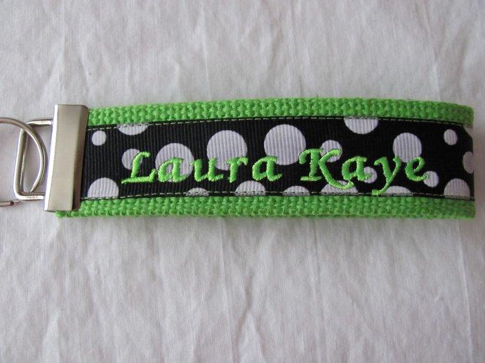 Lime w/Black with white polka dots key fob