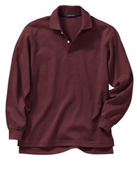 Adult unisex burgundy L/s polo shirt