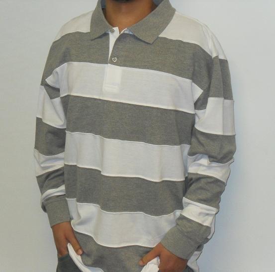 Remixed - LS Polo Shirt - White/Grey