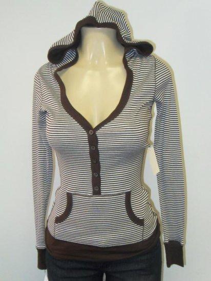 Active Basic - Cardigan/Hood - Brown/White