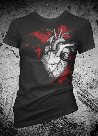 Heart Shirt Bleeding Valentines Female Shirt American Apparel Small, Medium, Large, Xlarge Available