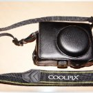 Nikon Coolpix P7000 camera leather case bag in black or brown