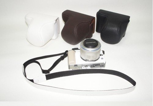 leather case bag for Olympus PEN E-PL1 digital camera  (long focus lens)