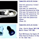 iPHONE 3G 3GS iPOD CAR CHARGER WITH OEM USB CABLE
