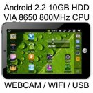 "7"" ePad Android 2.2 800MHz CPU Tablet PC 10GB Storage"