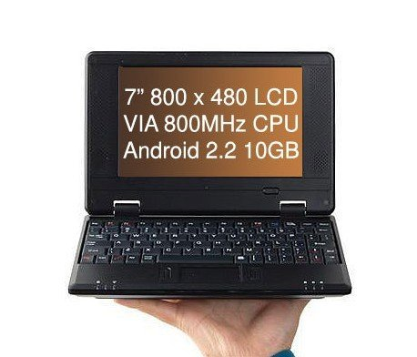 "7"" Mini Netbook Android 2.2 800MHz CPU 10GB Storage"