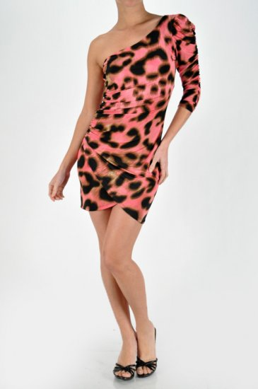 Pink Leopard One Shoulder Mini Dress Medium