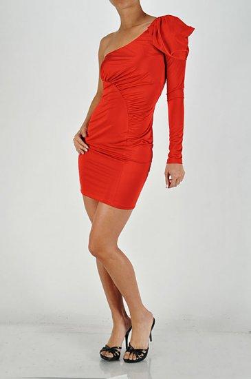 One Shoulder Red Dress Medium