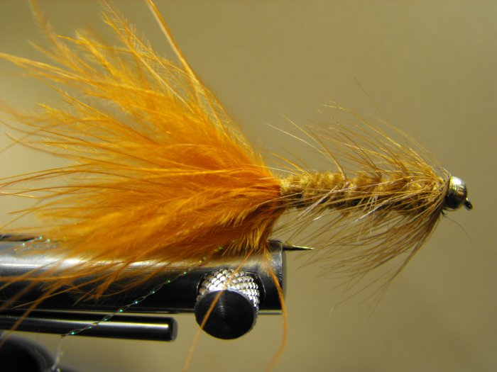 Woolly Bugger, Brown - Brass Bead Head