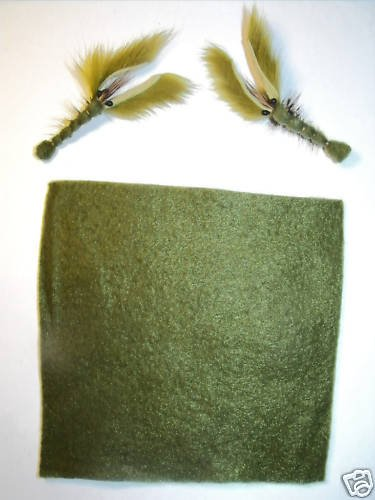 "10 sheets - Olive Furry Foam Fly Tying Material - 5""x6"""