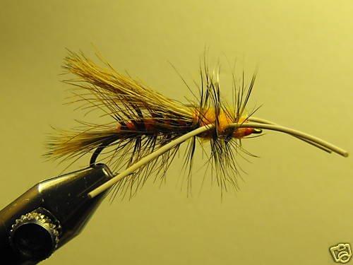1 Dzn - Rubber Leg Stimulator Orange Dry Fly Assortment