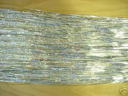 """SILVER Holographic Fly Flash for Fly Tying, 1/16"""" Wide"""