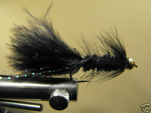 1 Dzn - BH Woolly Bugger - Trout or Pan fish -  Black