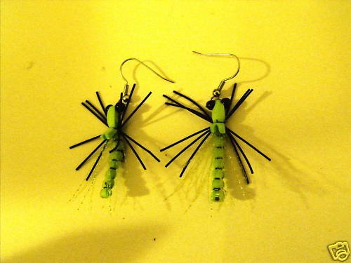 1 Pair - Chartreuse Dragonfly Earrings - Trout Fly