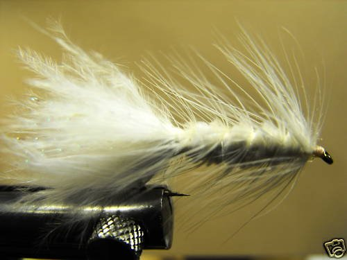 1 Dzn - Woolly Bugger Leech Trout or Pan fish -  White