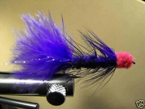1 Dzn - Woolly Bugger Leech Trout or Pan fish -  Purple