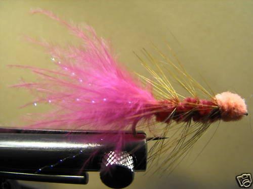 1 Dzn - Woolly Bugger Leech Trout or Pan fish -  Pink