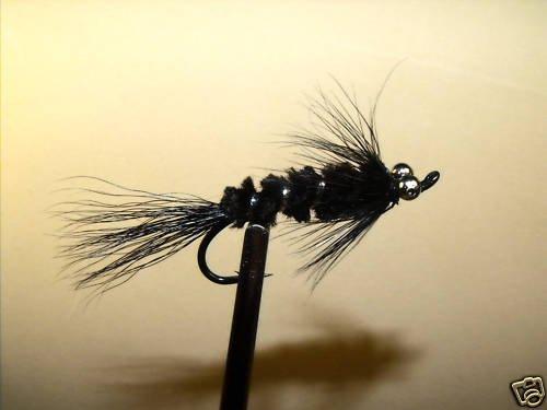 6 Flies - Black Boss - Salmon Steelhead Trout Wet Fly