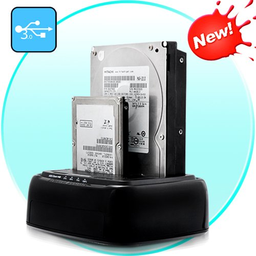 USB 3.0 Dual HDD/SSD Docking Station + Drive Copy