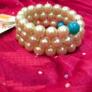 Beaded Beige n Blue Bangle