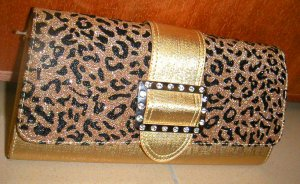 Gold Leopard Clutch