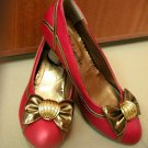 Putri Deep Orange w Gold Ribbon Shoes
