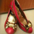Putri Deep Orange w Gold Ribbon Shoes