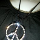 Peace w Diamonds Black Necklace