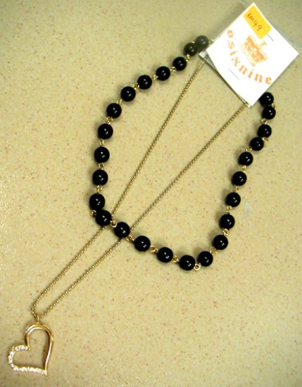 Gold Heart w Diamonds and Black Pearl Necklace