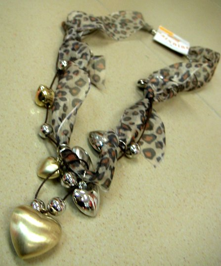 Gold/Silver Heart & Leopard Ribbon Necklace