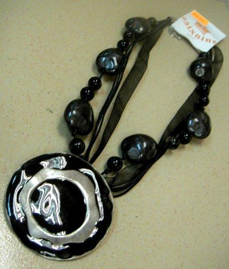 Phoebe Black Round Pendant w Stones Necklace