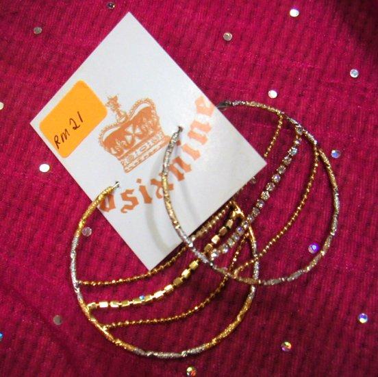 Gold/Silver Hoop w Diamante Earrings