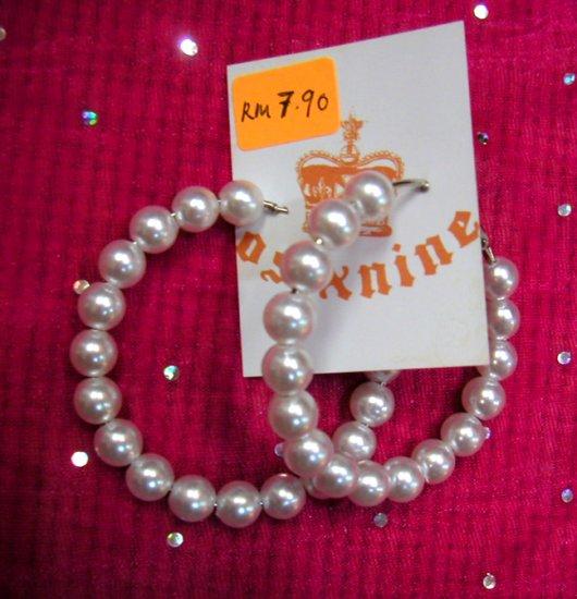 Angelic White Hoop Pearl Earrings