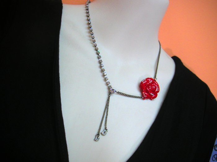 Bree Red Rose w Diamante Necklace