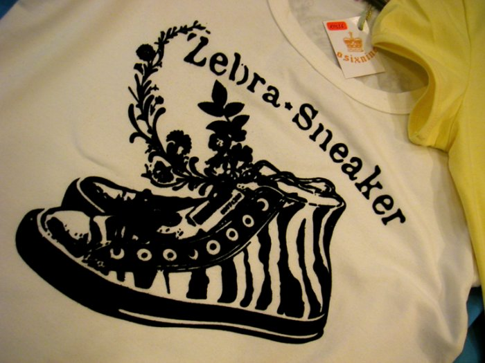 Zebra Sneaker (White/Yellow/Black) Girls Tshirts