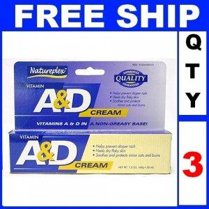 NEW 3 Tubes Natureplex VITAMIN A & D Cream Diaper Rash Burns Dry Skin (1.5oz/tube)
