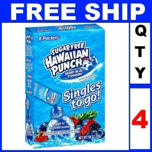New 4 packs Hawaiian Punch To Go, Berry Blue Typhoon, 8-Count Packets EXP:2014