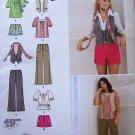 Simplicity pattern 2665 shorts, pants, tops, scarf, vest, junior sizes.