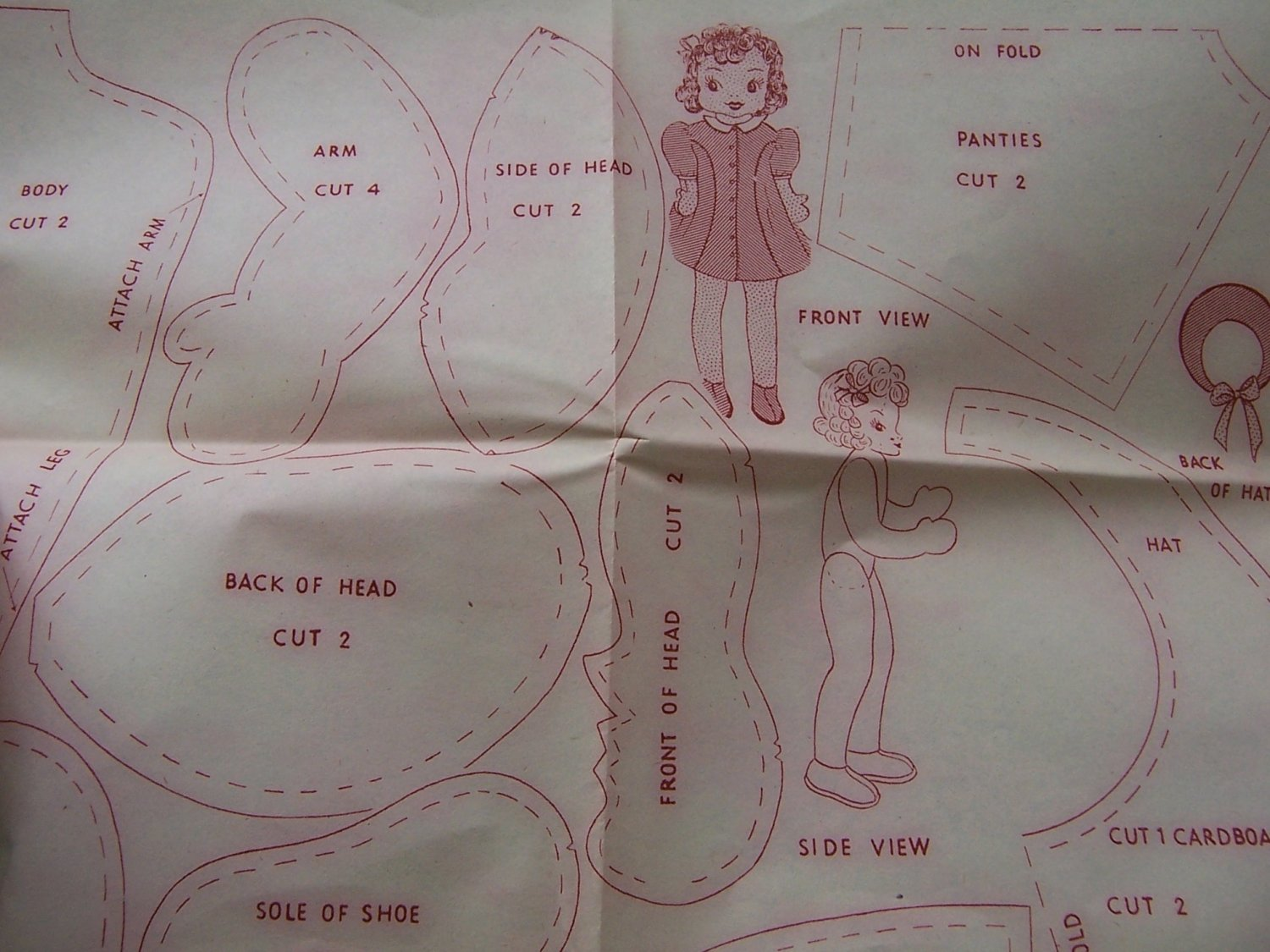 Vintage 1940s transfer pattern for doll, dog, cat, and rabbit