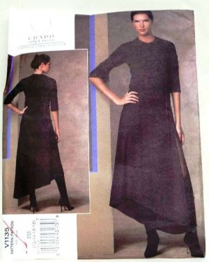 Vogue 1135 or v1135 Chado Ralph Rucci, Avant Garde dress pattern Size 4-10 .