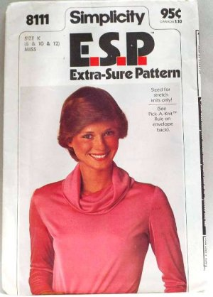 Vintage 1977 Simplicity E.S.P. pattern 8111 Pullover top size 8-12 .