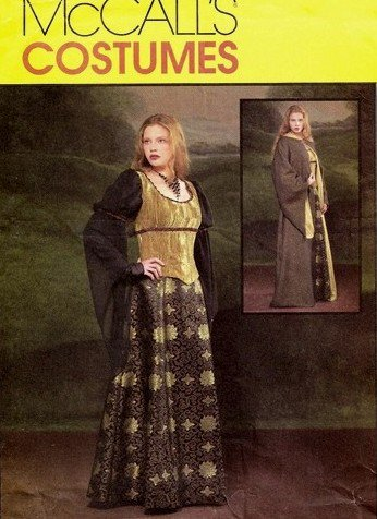 McCall's 4340 pattern for Celtic gown, lined robe, corset size 6-12 .