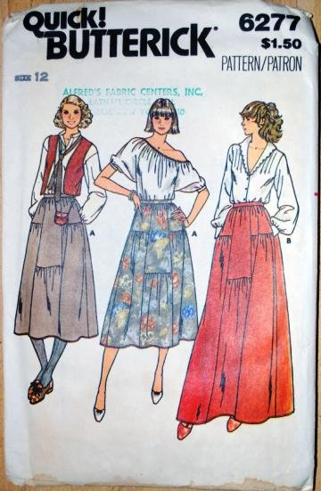Quick Butterick 6277 Size 12 step tiered dirndl skirts pattern, 1970s.