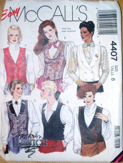 Easy McCall's pattern 4407 vintage 1989 vests in size 8