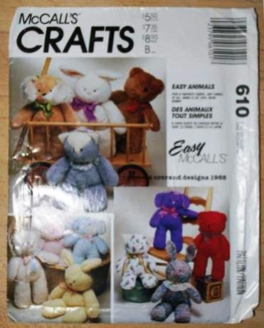 """McCall's 610 crafts pattern for """"Easy Animals"""" bear, rabbit, cat, dog by Pamela Crerand"""
