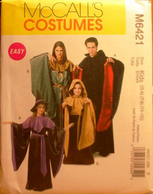 McCall's Easy Costumes M6421 6421 warlock vampire mystic witch pattern for kids sizes 5-12